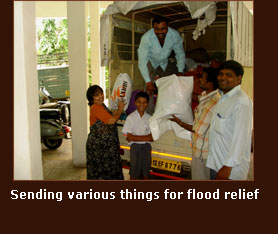 Sending various things for flood relief
